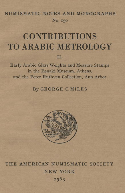 ans digital library contributions to arabic metrology