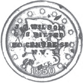An 1850 Cent Stamped In Four Lines JG WILSON GAS FITTER 39 CENTRE St NY And From Separate Single Line Punches Quite Probably Wilson Used These